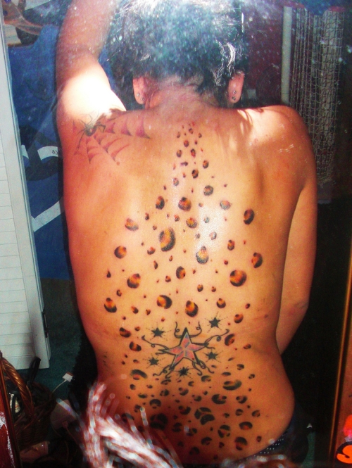 Small Stars And Cheetah Print Tattoos On Backside