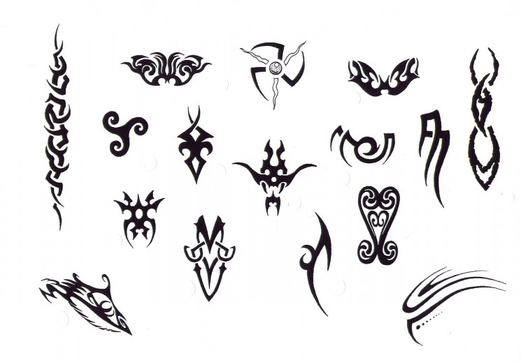 Small Tribal Tattoo Designs On A White Background