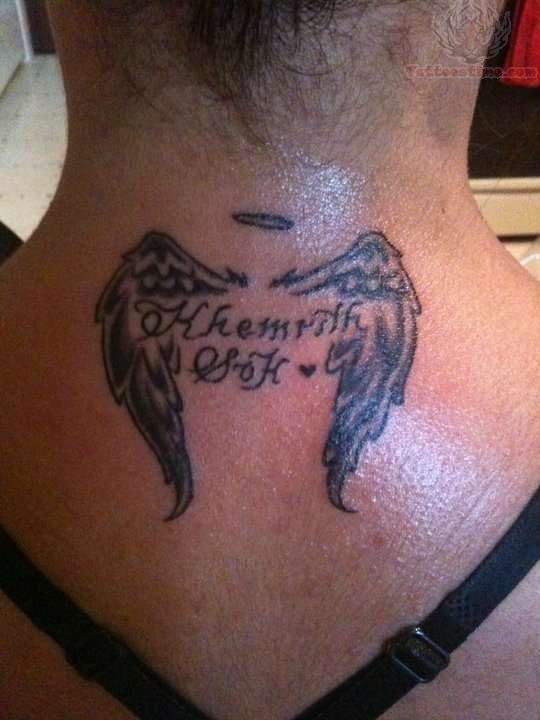 Small Wings Memorial Tattoo On Back Neck