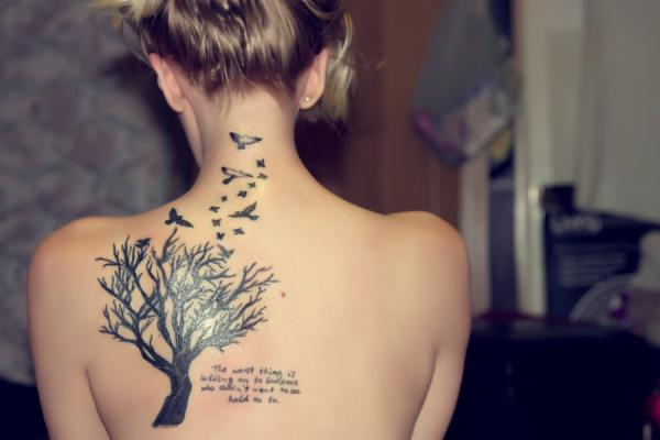 Small Women Tattoo On Back Shoulder