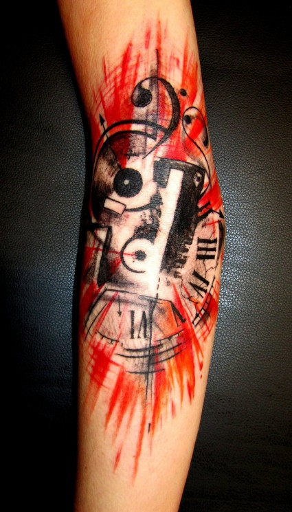 Smashed Cassette And Clock Tattoos On Arm