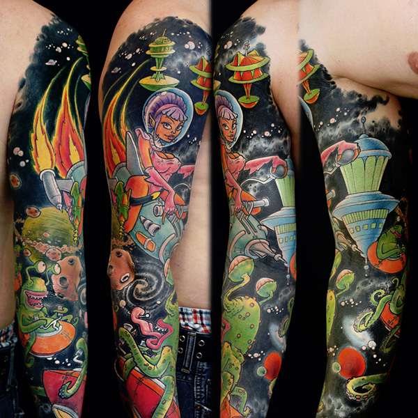 Smiling Girl With Full Sleeve Colorful Tattoos