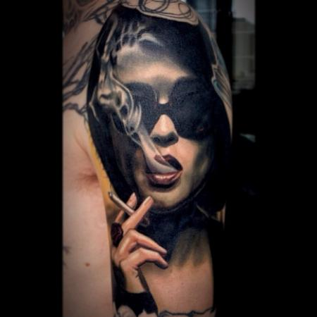 Smoking People And Swallow Portrait Tattoos