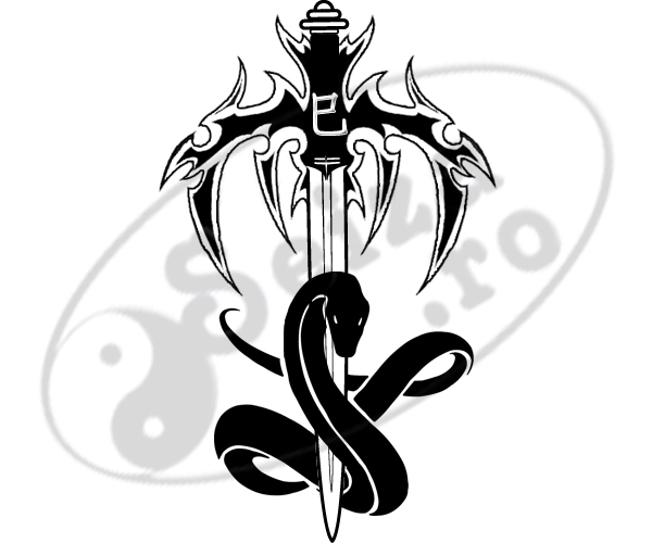 Snake And The Sword Tattoo Design