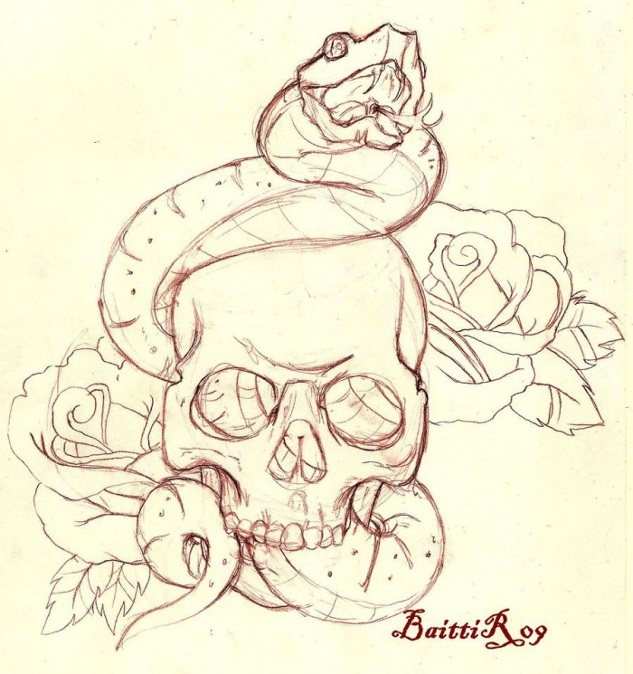 Snake Skull And Roses Tattoos Flash