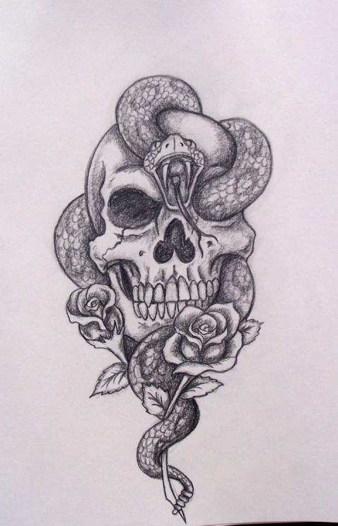 Snake Through Skull And Roses Tattoo Designs
