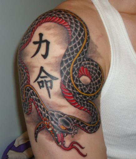 Snake With Japanese Waves Tattoo For Men