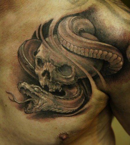 Snake With Tongue Out Tattoo Sample