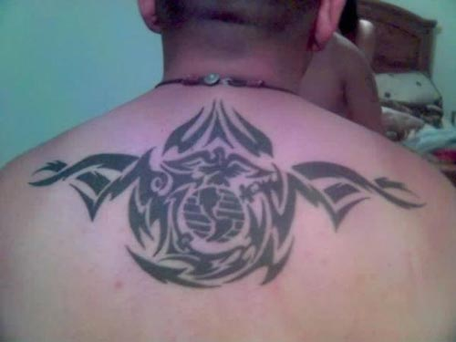 Soldier Military Tattoo On Upper Back