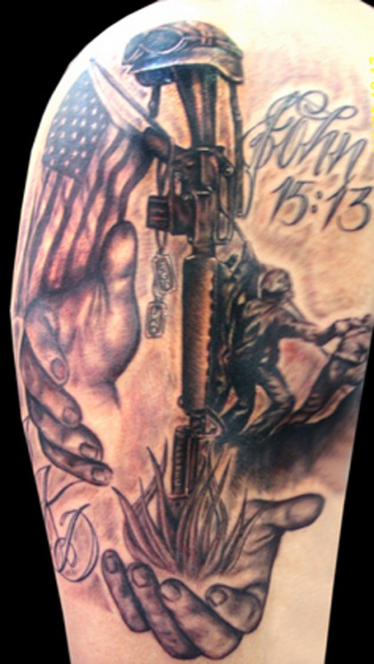 Soldiers Memorial Military Tattoo On Arm