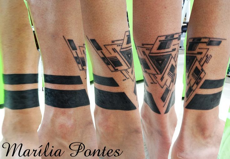 Solid Black Ink Triangle Tattoo For Guys