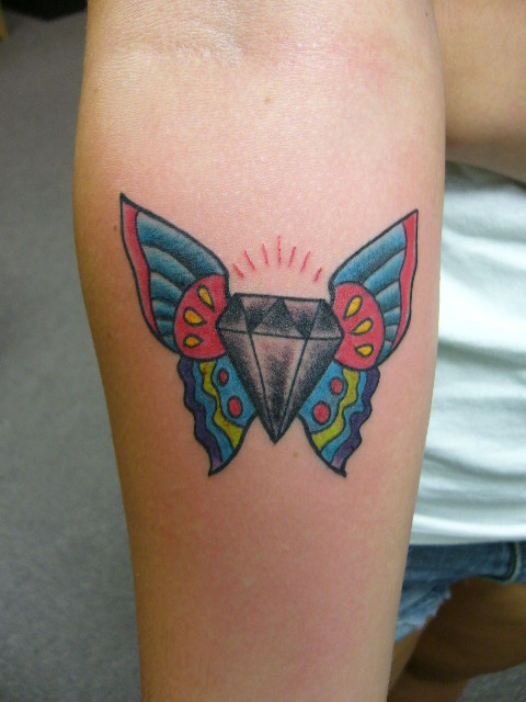 Sparkling 3d butterfly tattoo on neck in 2017 real photo for Sparkling star tattoo