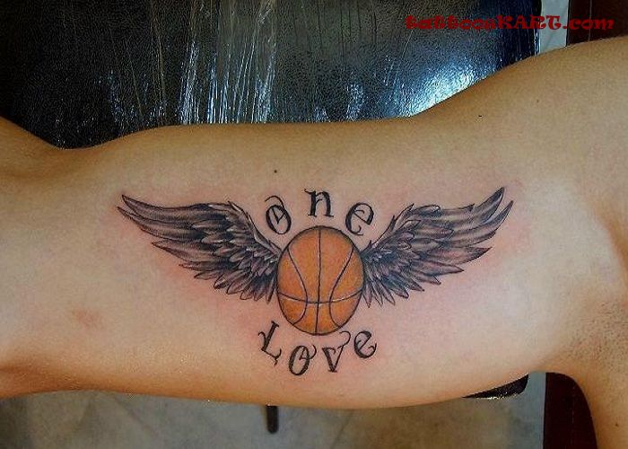 Sparkling Colored Sports Tattoos On Biceps
