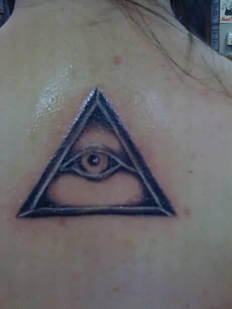 Sparkling Eye Triangle Tattoo On Upperback