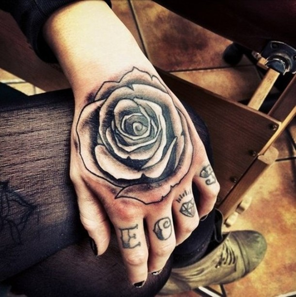 Sparkling Grey Rose Tattoo On Hand