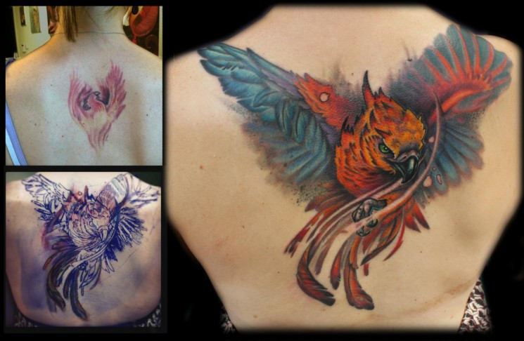 Sparkling Phoenix Cover In Wings Tattoo