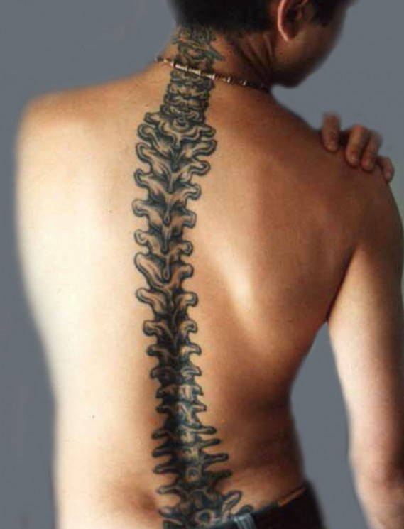 Spine Bone Tattoo Style For Boys