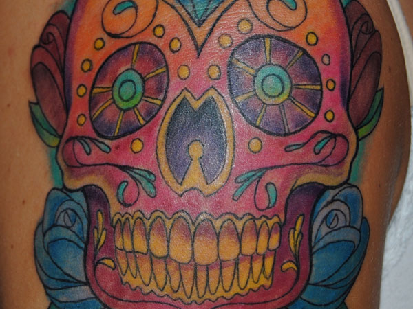 Splendid Mexican Skull Tattoo On Shoulder