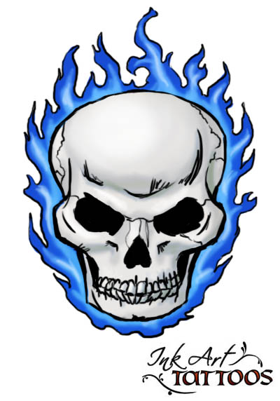 Sports Skull With Flaming Eyes Tattoo