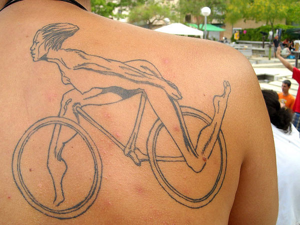 Squirrels Cycling Tattoo On Back