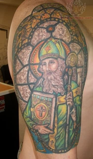 St Patrick Stained Glass Sleeve Tattoos