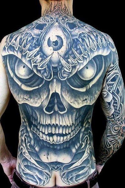 Stained Glass And Blue Skull Tattoo Design