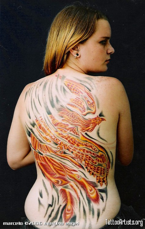 Stars And Phoenix Tattoos On Back