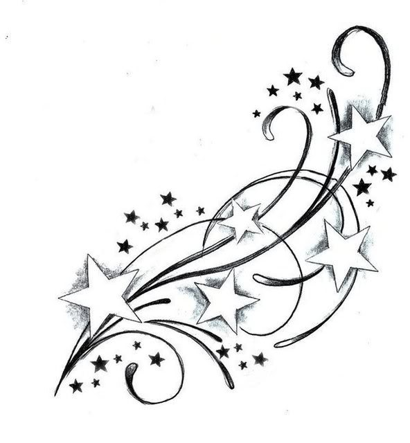 Stars Falling From Moon Tattoos For Girls