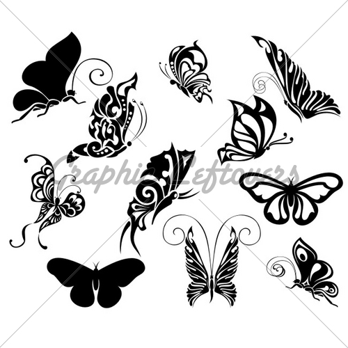 Stock Vector Butterfly Tattoo Design