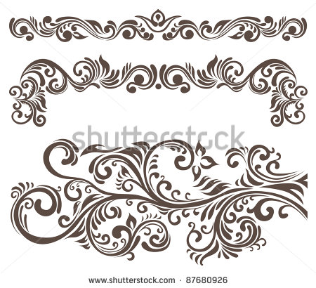 Stock Vector Five Floral Tattoo Designs