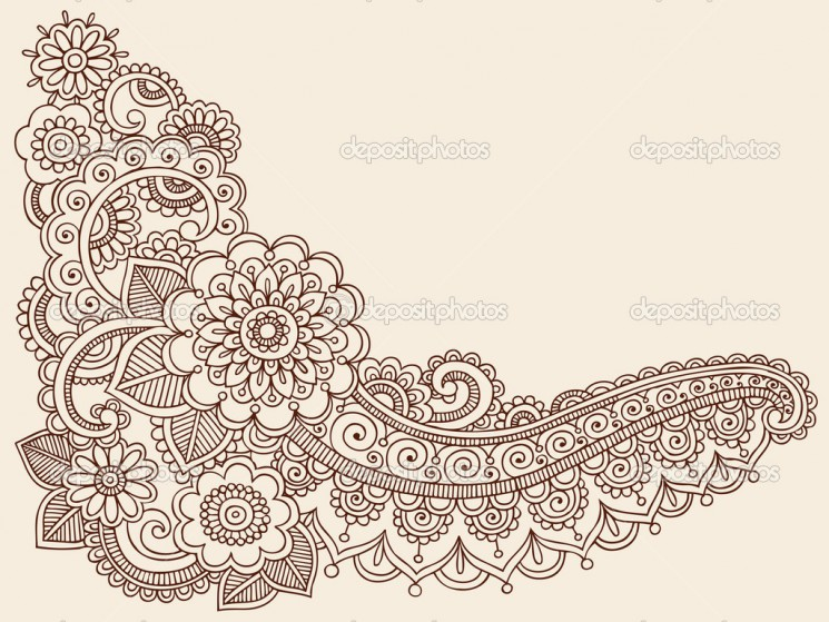 Stock Vector Henna Floral Tattoo Design