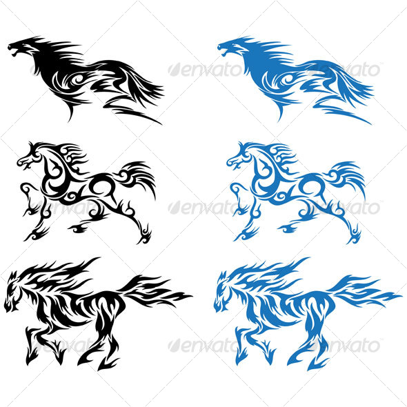 stock vector horse tribal vector running horse with floral ornament decoration for tattoo in. Black Bedroom Furniture Sets. Home Design Ideas