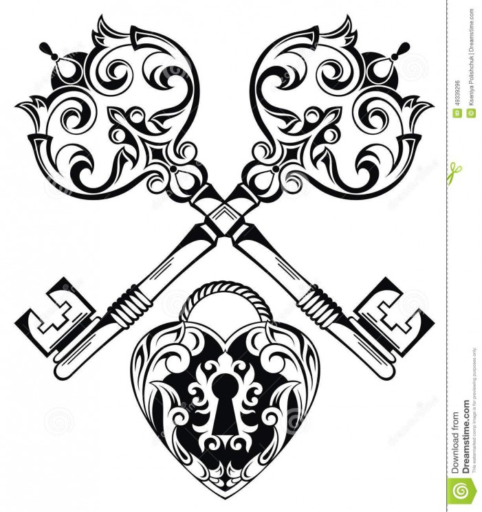 Stock Vector Key Tattoo Design