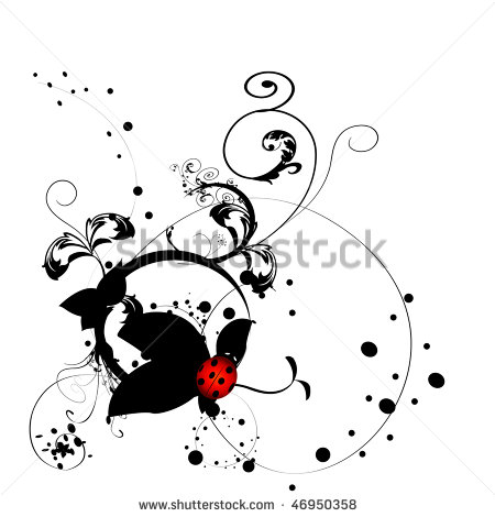Stock Vector Ladybug Tattoo Design