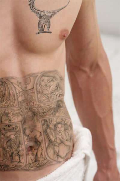 Stomach Tattoos For Muscular Guys