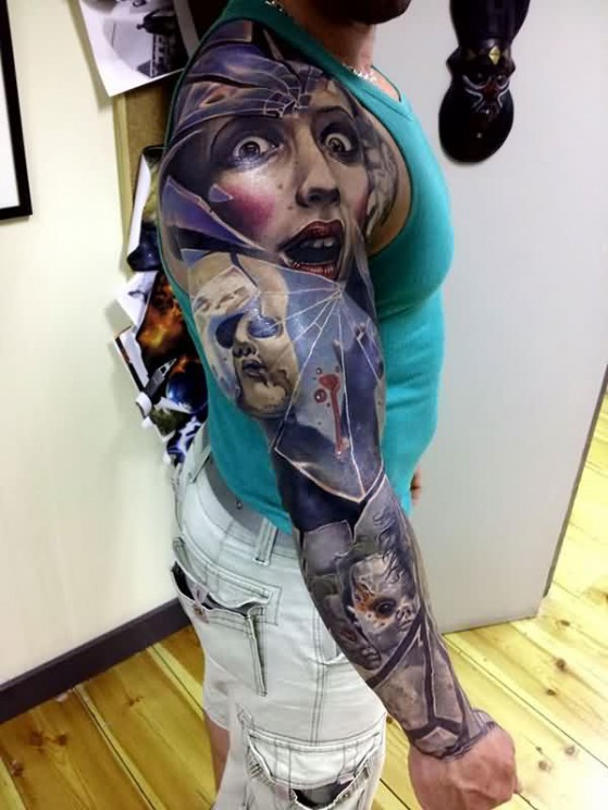 Strange Face – Sleeve Tattoo