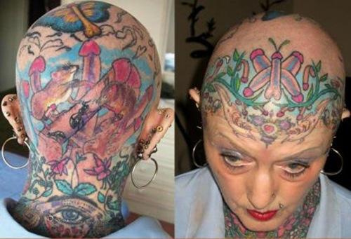 Strange n Funny Tattoo On Womans Head