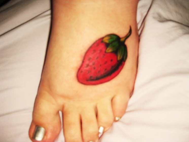 Strawberry Tattoo On Foot