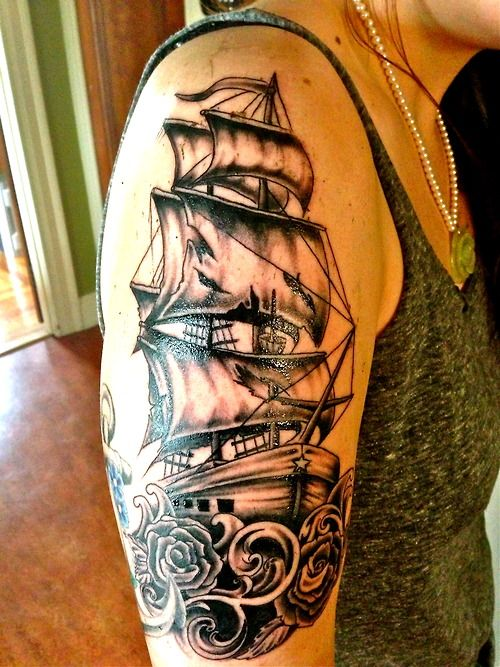 Stunning Colored Ship Tattoo On Whole Back