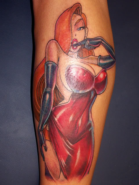 Stunning Jessica Rabbit With Finger In Mouth Tattoo