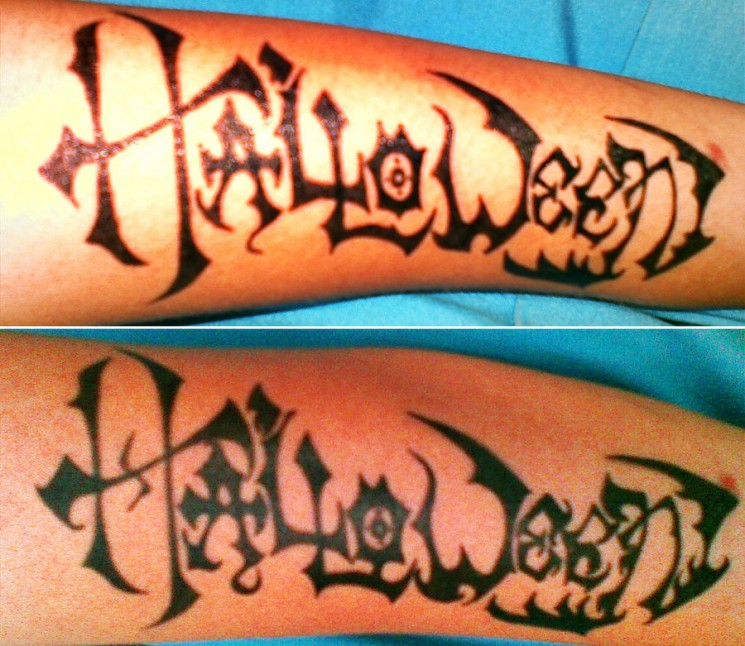 Stylish Halloween Lettering Tattoo Designs