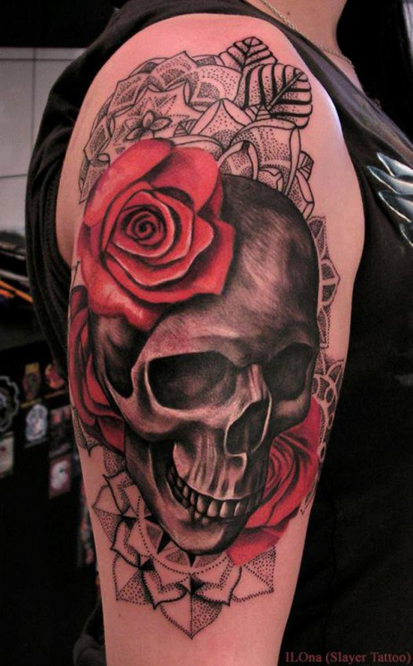 Sugar Skull And Red Roses Tattoos On Arm