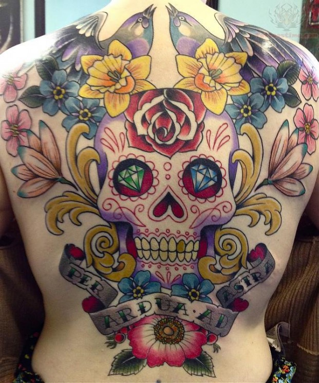 Sugar Skull Buddha Head Tattoo On Chest