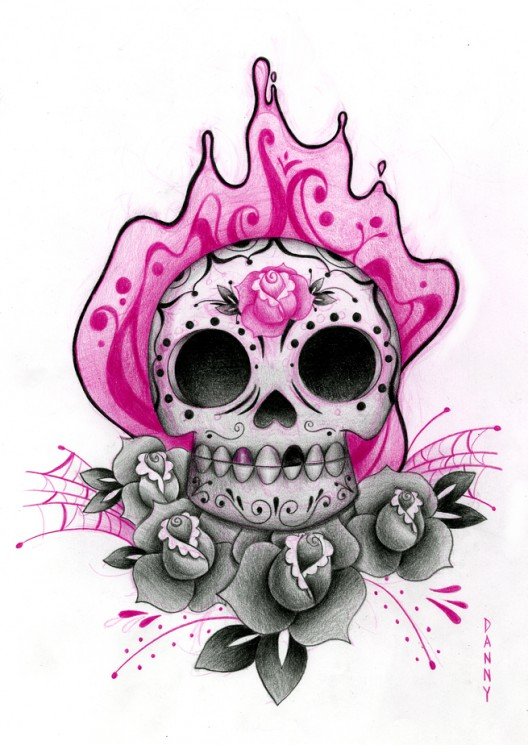 Sugar Skull Candle Tattoo With Roses