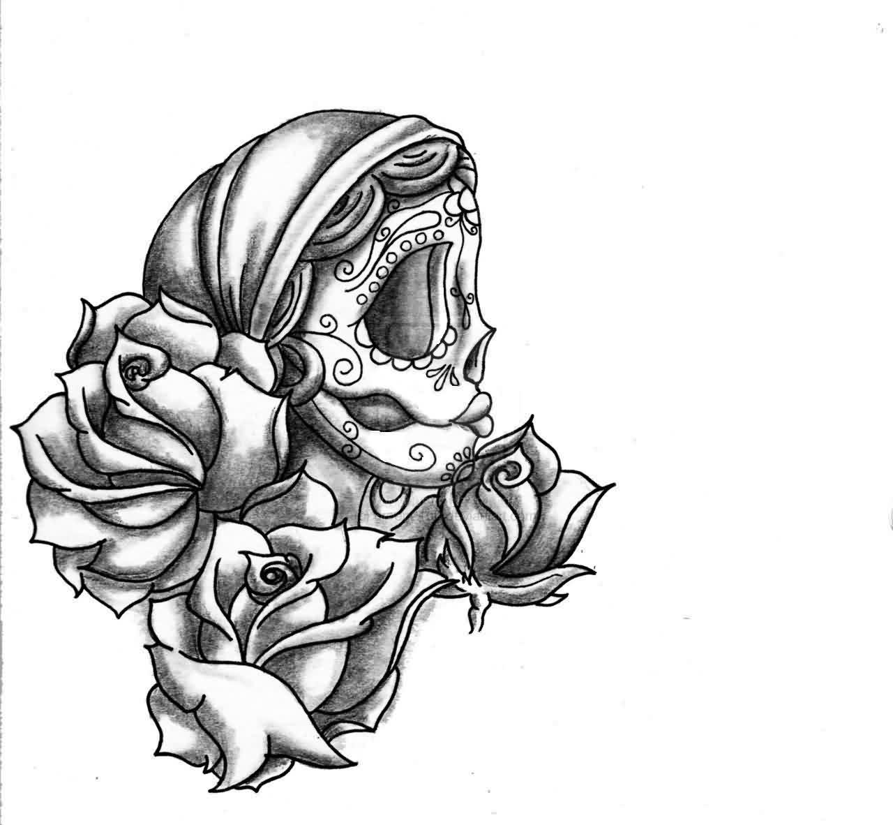 all images to sugar skull girl and red roses tattoo designs - Sugar Skull Tattoo Coloring Pages