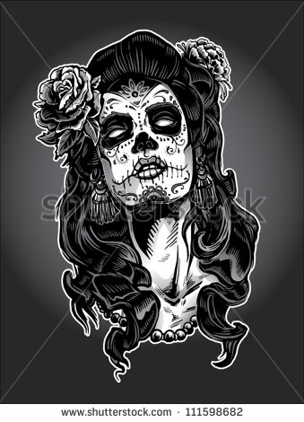 Sugar Skull Gypsy n Roses Tattoo Design