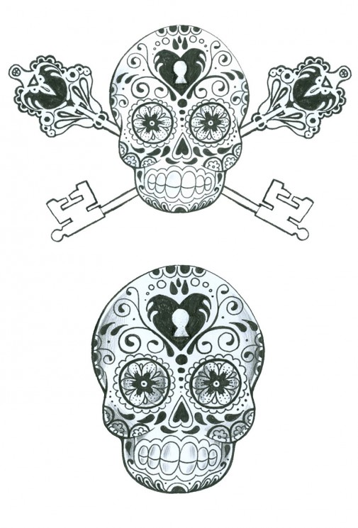 Sugar Skull Key Tattoo Design