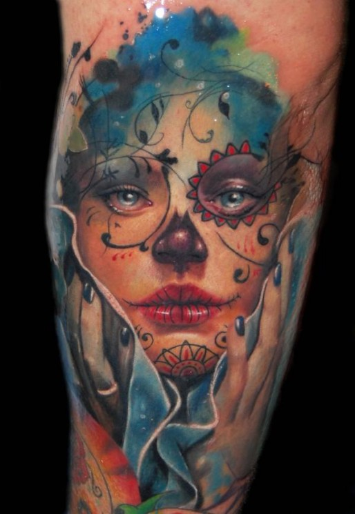 Sugar Skull Tattoo In Mexican Style