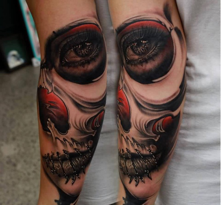 Sugar Skull With Stitched Lips Tattoos On Arm