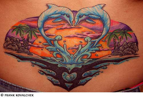 Sun And Waves Shoulder Tattoos